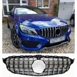 Calandra parrilla compatible con Mercedes Benz Clase C W205 con cámara de 360° (Color  Cromo)