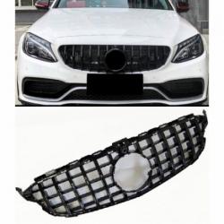 Calandra parrilla compatible con Mercedes Benz Clase C W205 con cámara de 360° (Color Negro Brillante)
