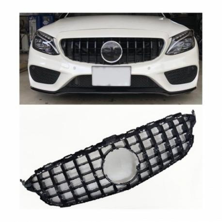 Calandra parrilla compatible con Mercedes Benz Clase C W205 (Color Negro Brillante)